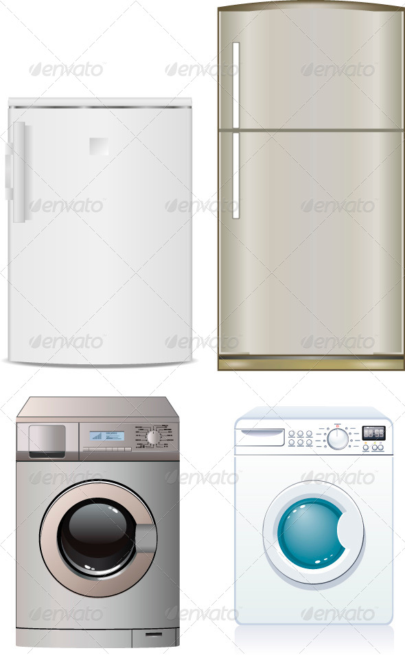 Refrigerator and Washing Machine - Man-made Objects Objects
