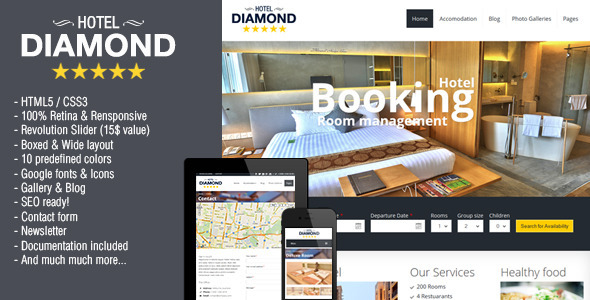 Hotel Diamond – Responsive Hotel Online Booking