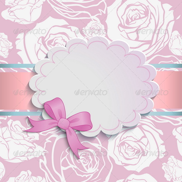 Card with a Bow - Backgrounds Decorative