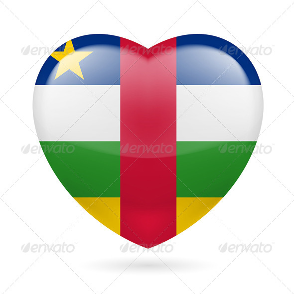 Heart Icon of Central African Republic - Miscellaneous Vectors