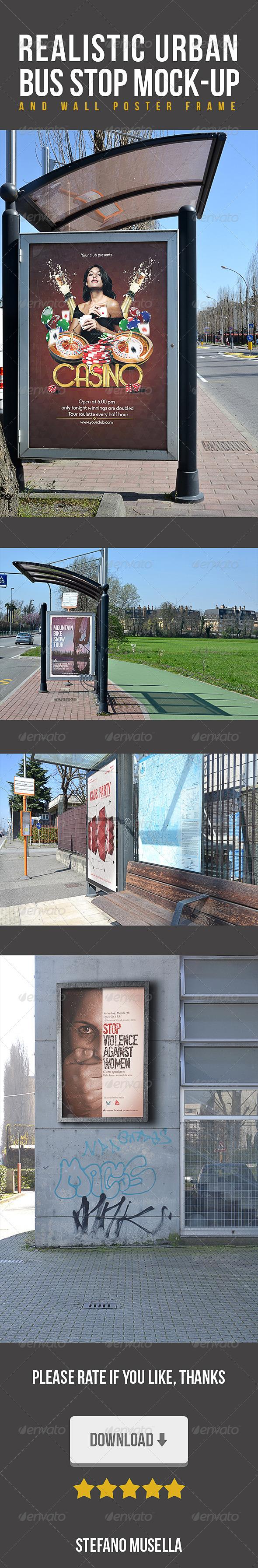Realistic Urban Stop Bus Mockup - Flyers Print