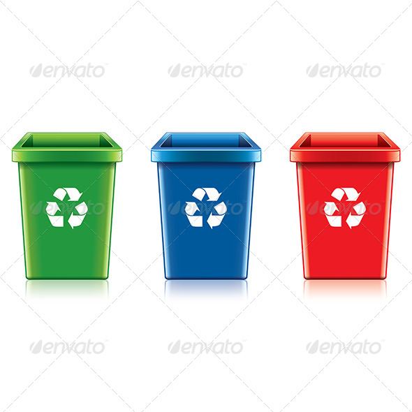 Plastic Recycle Bin Set  - Man-made Objects Objects