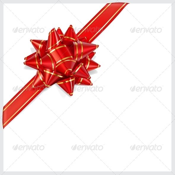 Bow of Red Ribbon Located Diagonally - Decorative Symbols Decorative