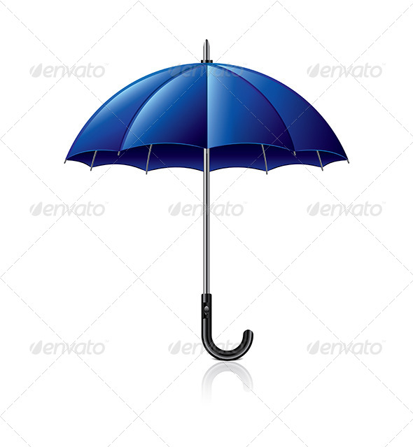 Classic Blue Umbrella Illustration - Man-made Objects Objects