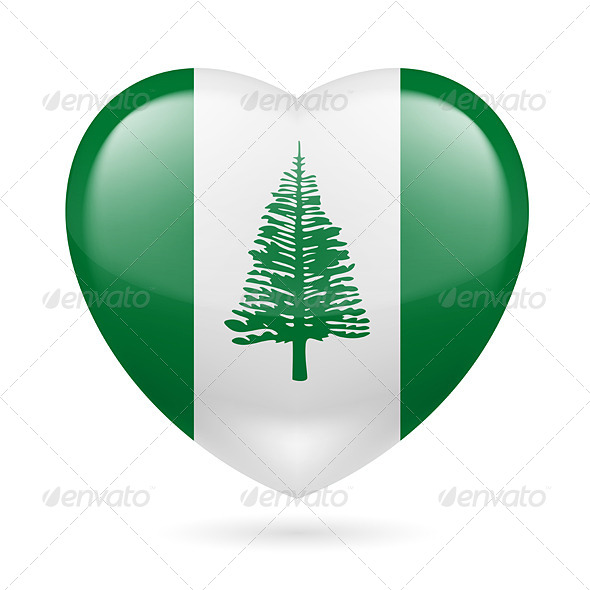 Heart Icon of Norfolk Island - Miscellaneous Vectors