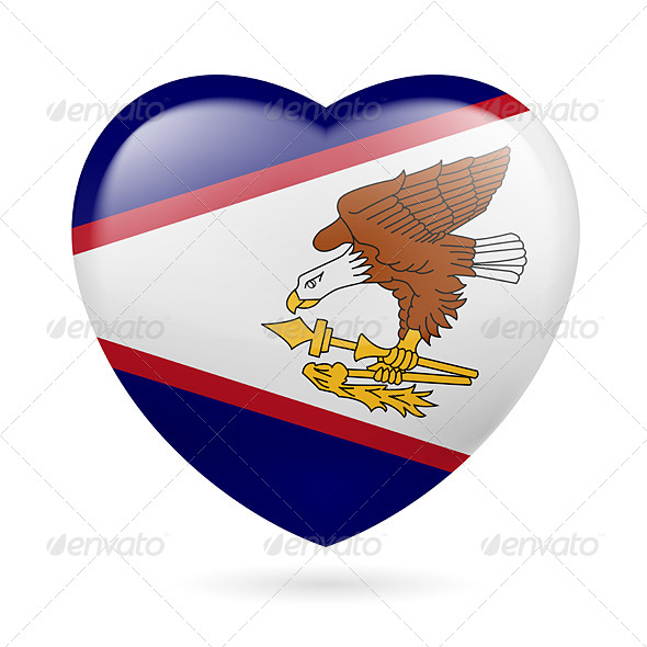 Heart Icon of American Samoa - Miscellaneous Vectors