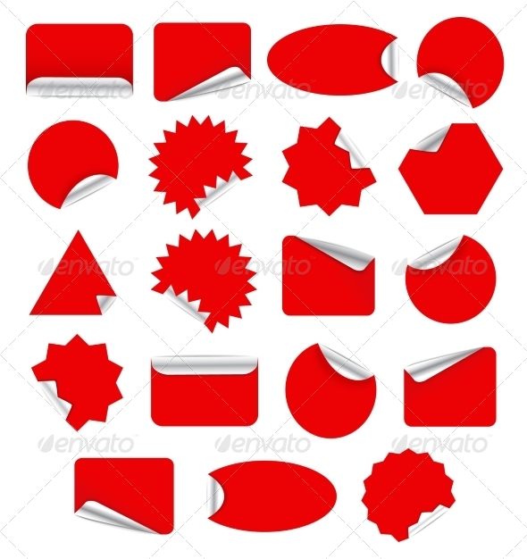 Set of Red Stickers - Web Elements Vectors