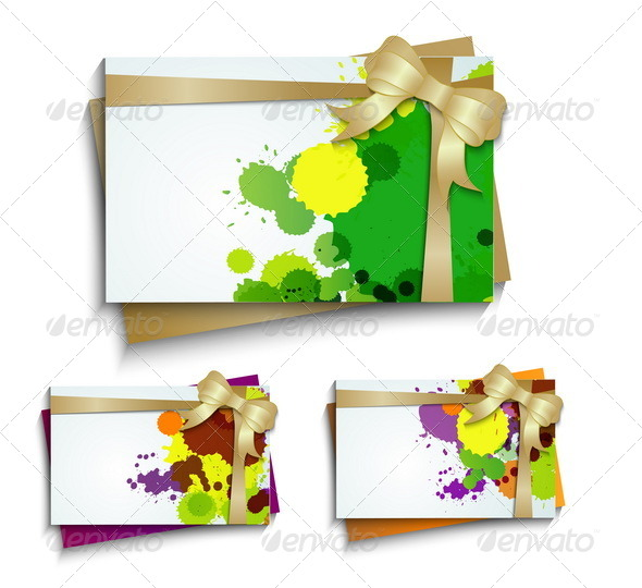 Business Card with a Bow and Blots - Seasons/Holidays Conceptual