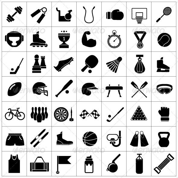 Set Icons of Sports and Fitness Equipment - Man-made objects Objects