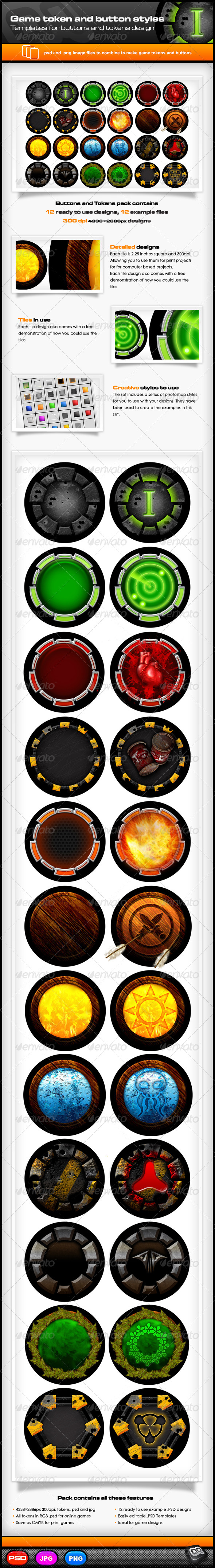 Game Token and Button Templates - Illustrations Graphics