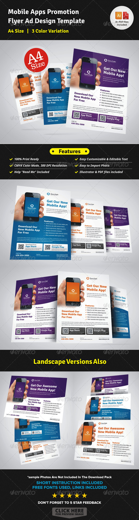 Mobile Apps Promotion Flyer Ad Design - Corporate Flyers