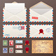 Mail Envelope, Stickers, Stamps, Postcard - GraphicRiver Item for Sale