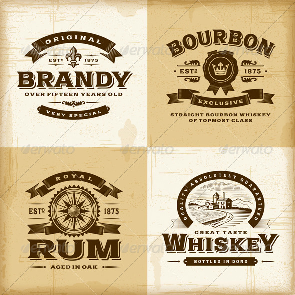 Vintage Alcohol Labels Set - Decorative Symbols Decorative