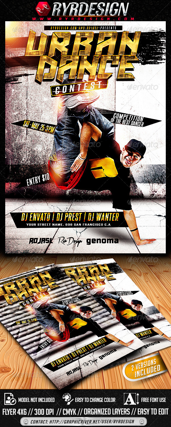 Urban Dance Contest Flyer PSD