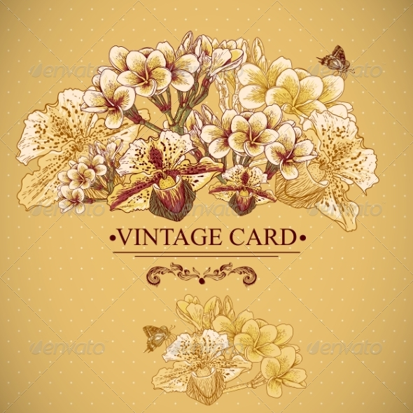 Vintage Floral Card with Exotic Flowers - Patterns Decorative