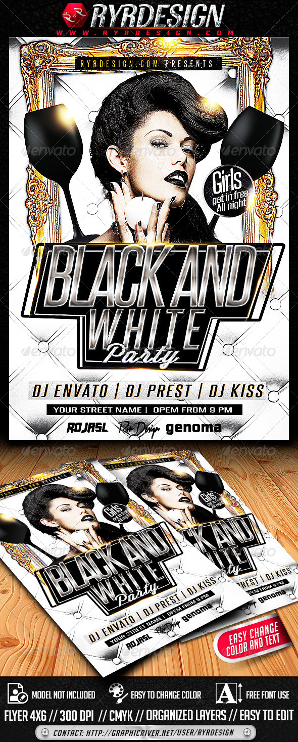 Black and White Party PSD - Clubs & Parties Events