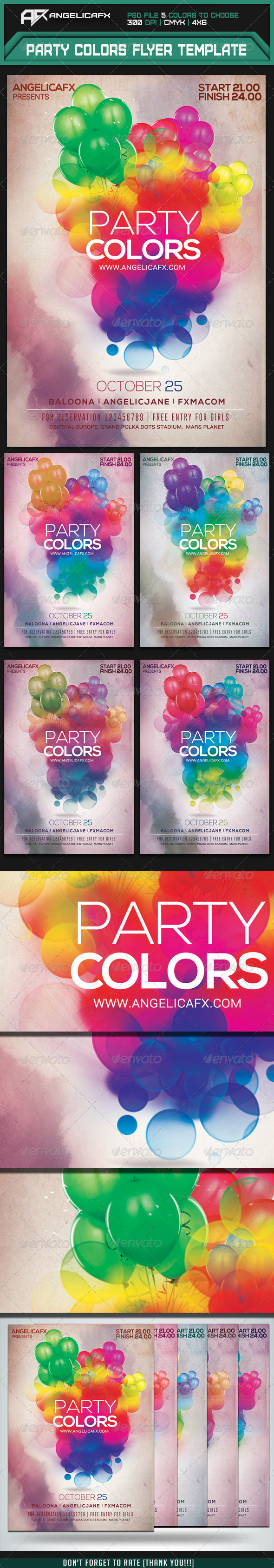 Party Colors Flyer Template - Flyers Print Templates