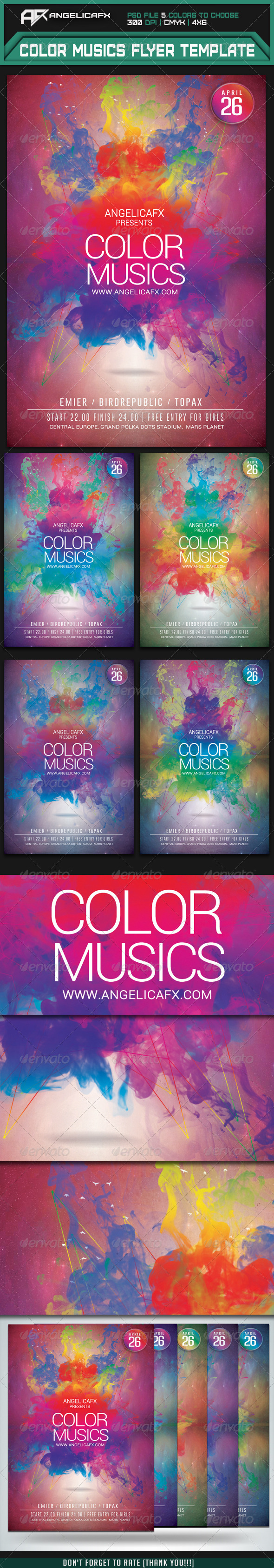 Color Music Flyer Template - Flyers Print Templates
