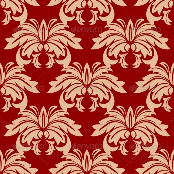 Red Damask Floral Seamless Pattern - Patterns Decorative