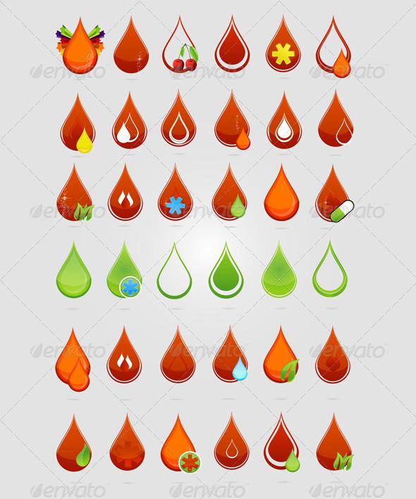 Creative medic blood drops symbols set - Health/Medicine Conceptual