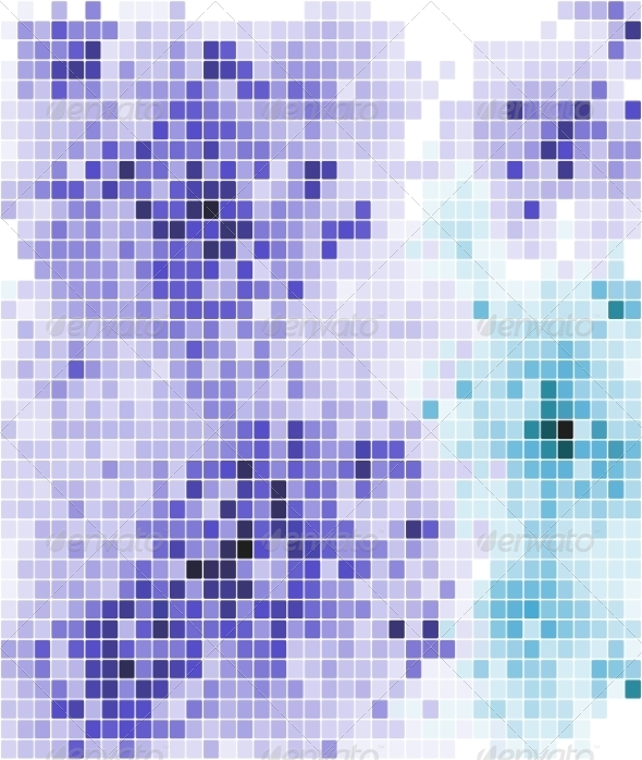 Abstract Mosaic Tiled Pattern in Blue and Purple - Backgrounds Decorative