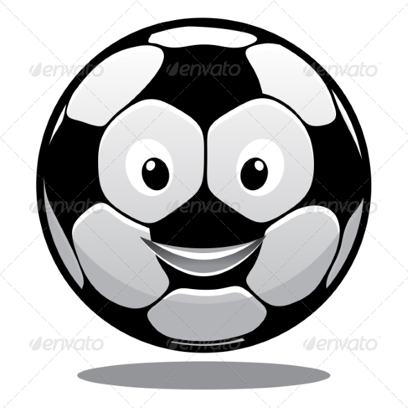 Happy Cartoon Smiling Soccer Ball - Sports/Activity Conceptual