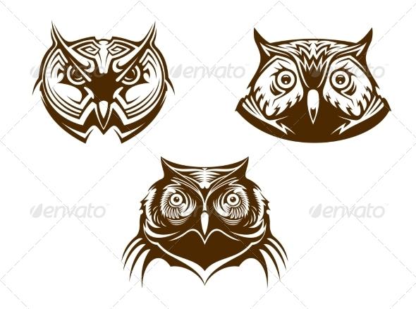 Owl Head Mascots - Animals Characters