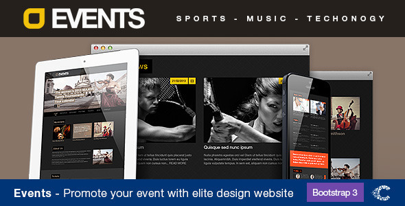 Events Music, Sport, Techno HTML5/CSS3