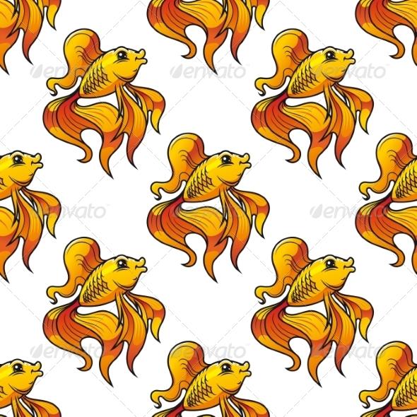 Seamless Pattern of Ornamental Goldfish - Backgrounds Decorative
