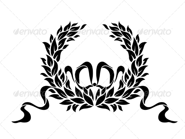 Foliate wreath with ribbons - Borders Decorative
