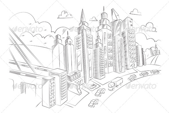 Hand Drawing of City Life - Buildings Objects