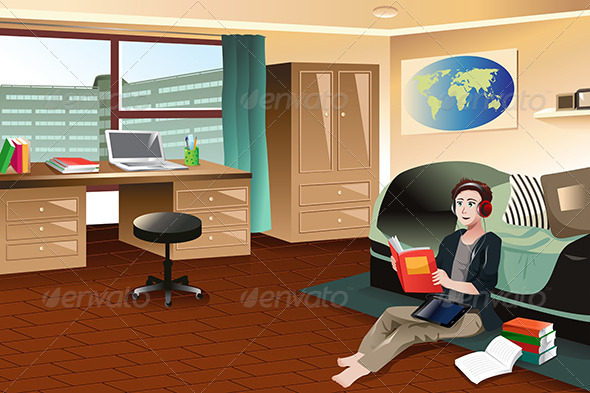 College Student Studying in Dorm - People Characters