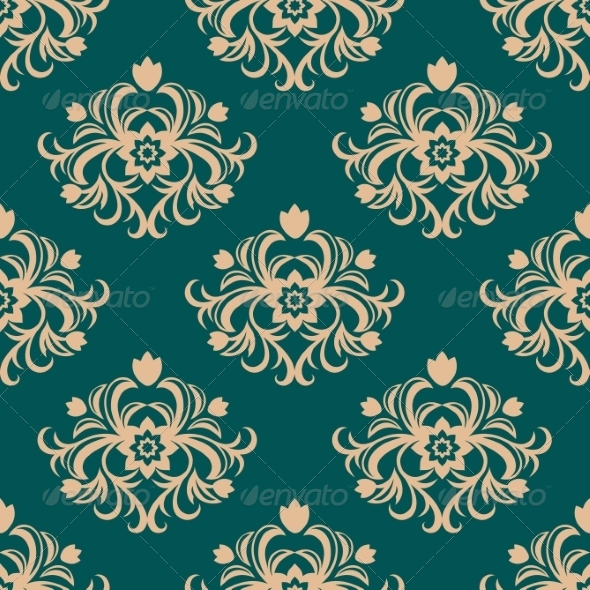 Repeat Floral Motifs in an Arabesque Pattern - Patterns Decorative