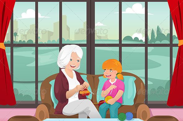 Grandma Teaching her Granddaughter Knitting - People Characters