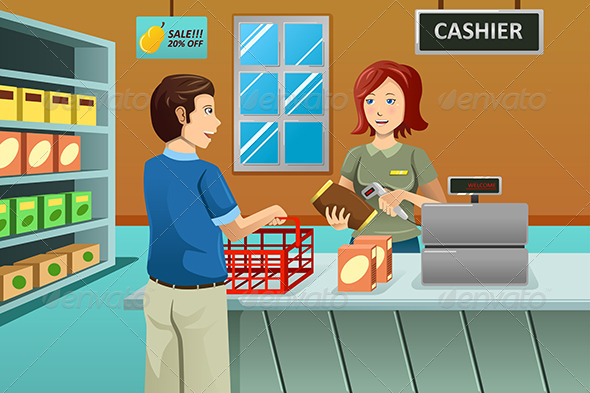 Cashier Working in the Grocery Store - Commercial / Shopping Conceptual