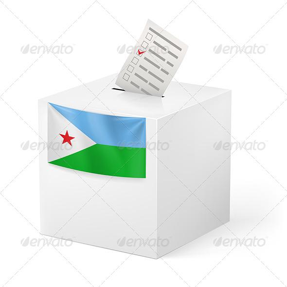 Ballot Box with Voting Paper. Djibouti - Miscellaneous Vectors