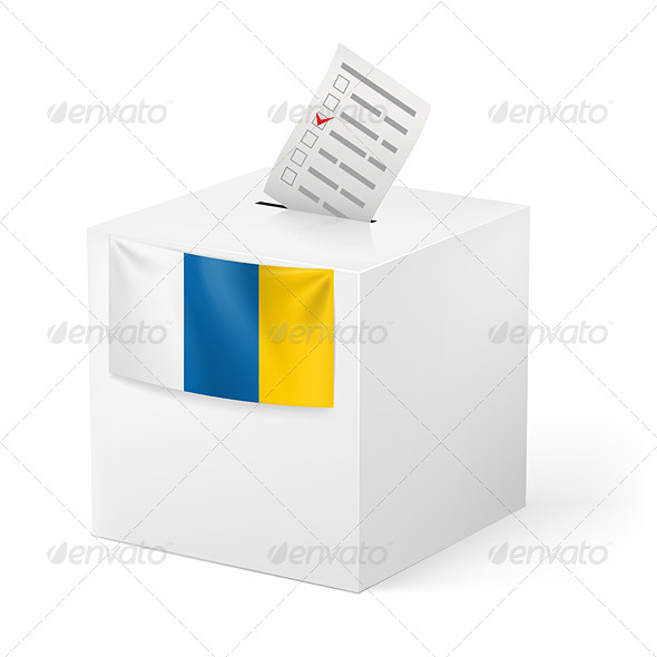Ballot Box with Voting Paper. Canary Islands - Miscellaneous Vectors