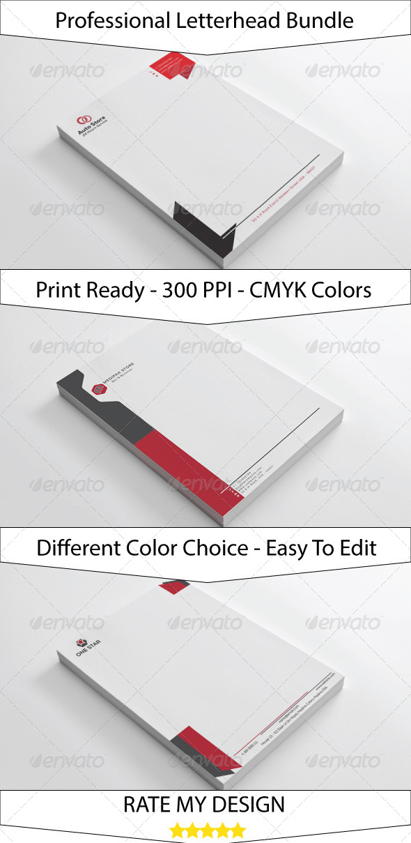 Clean Simple Letterhead Bundle - Stationery Print Templates