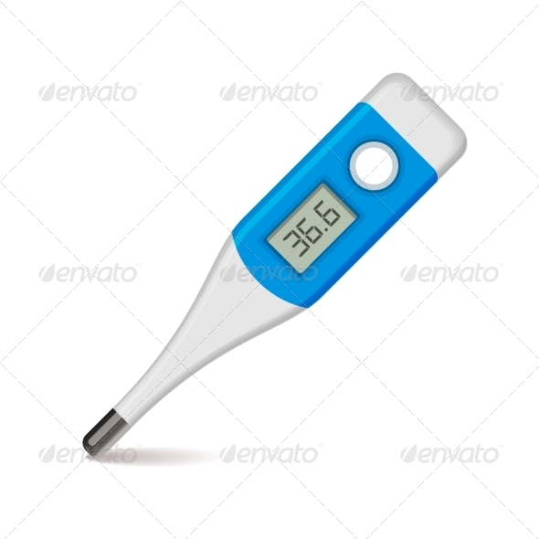 Medical Thermometer on White Background. Vector - Health/Medicine Conceptual
