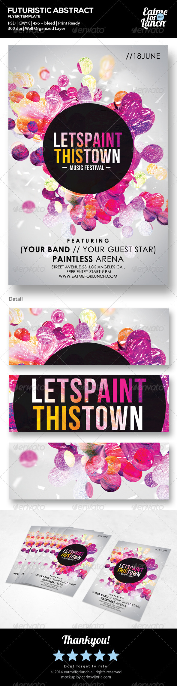 Futuristic Abstract Flyer - Lets Paint This Town  - Events Flyers