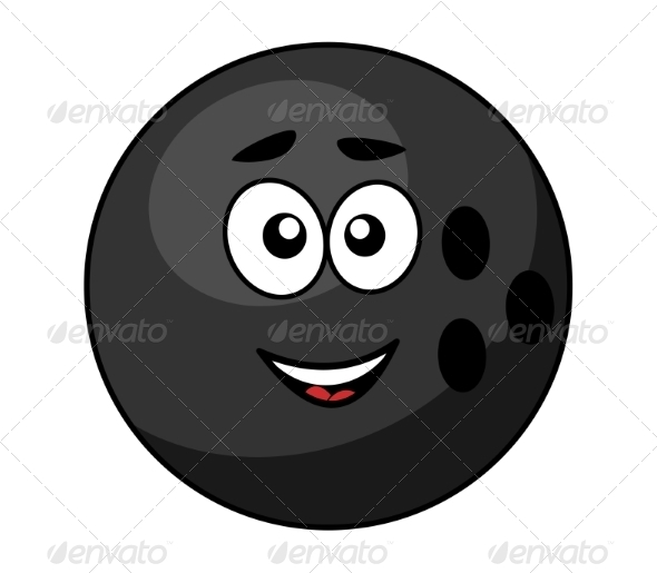 Black Bowling Ball with a Happy Smile - Sports/Activity Conceptual