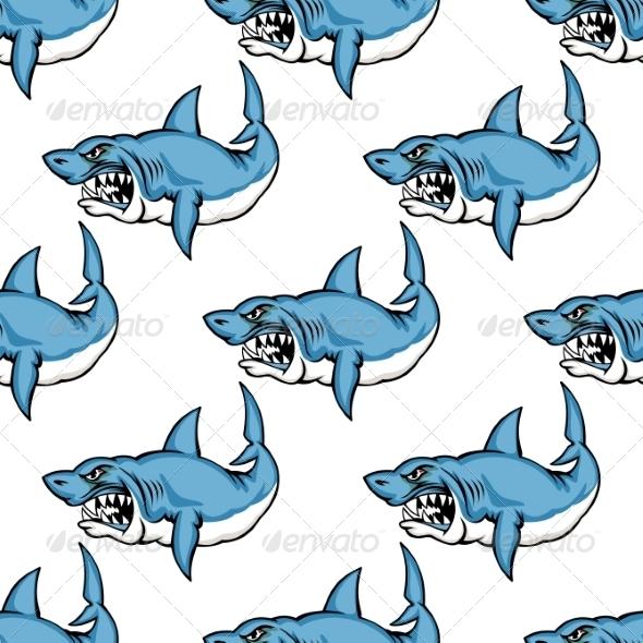 Fierce Predatory Swimming Shark - Monsters Characters