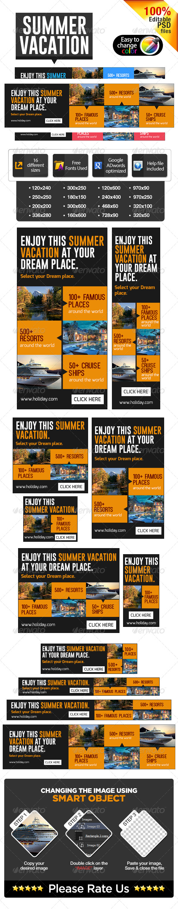 Summer Vacation Banners - Banners & Ads Web Elements
