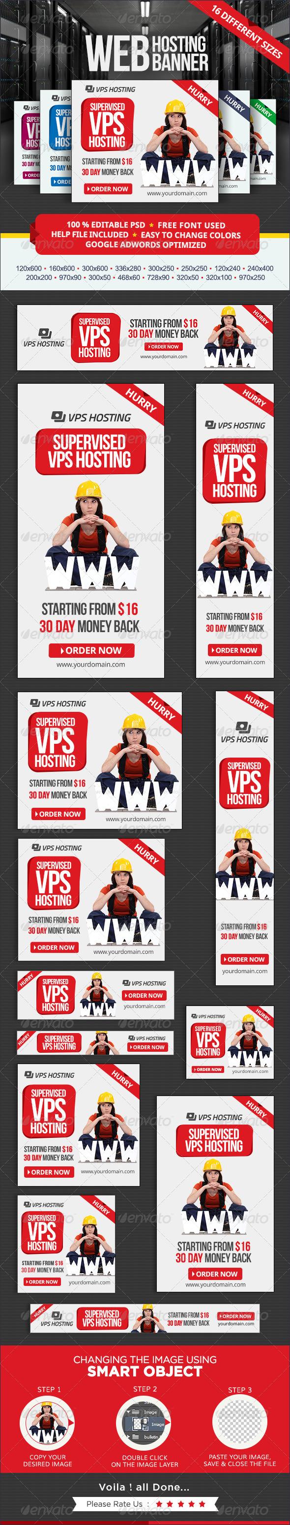 Web Hosting Banner set - Banners & Ads Web Elements