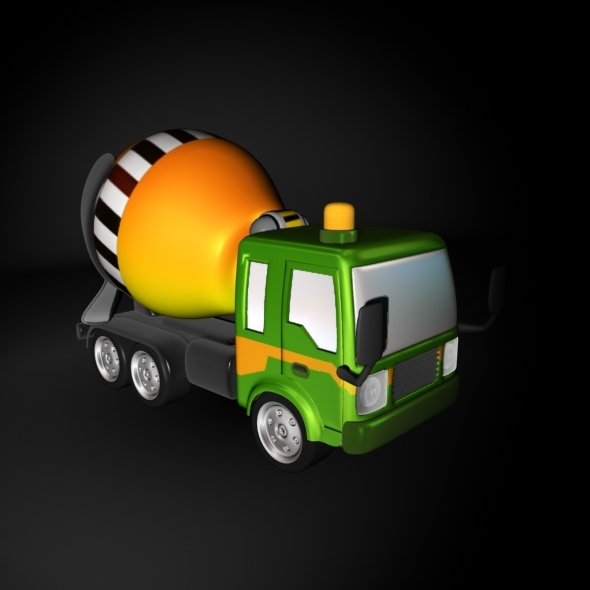 Cartoon Cement Mixer Truck - 3DOcean Item for Sale