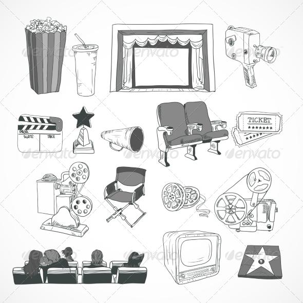 Vintage Cinema Concept - Decorative Symbols Decorative