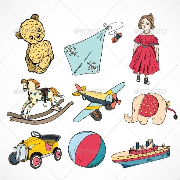 Toys Colored Sketch Icons Set - Decorative Symbols Decorative