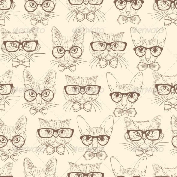 Cat Hipsters Seamless Pattern - Backgrounds Decorative