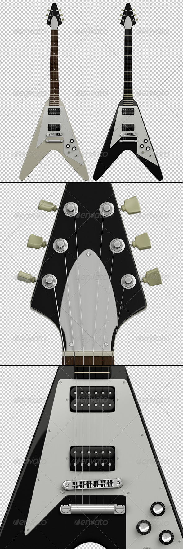 2 Guitar Renders - Objects 3D Renders