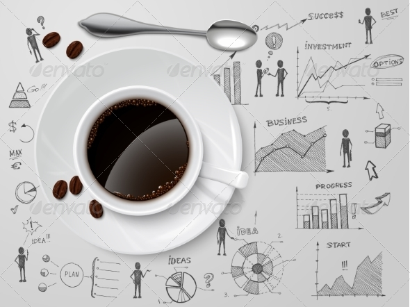 Coffee Cup on Business Sketch - Backgrounds Business